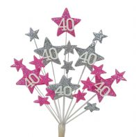 Star age 40th birthday cake topper decoration in bright pink and silver - free postage